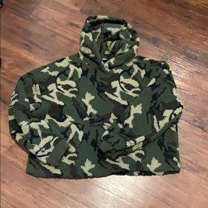 Shein Sherpa cropped hoodie